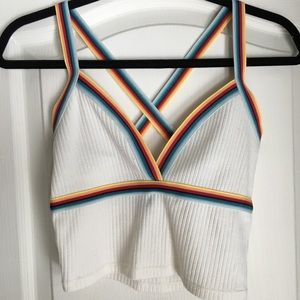 Retro rainbow trimmed crop top